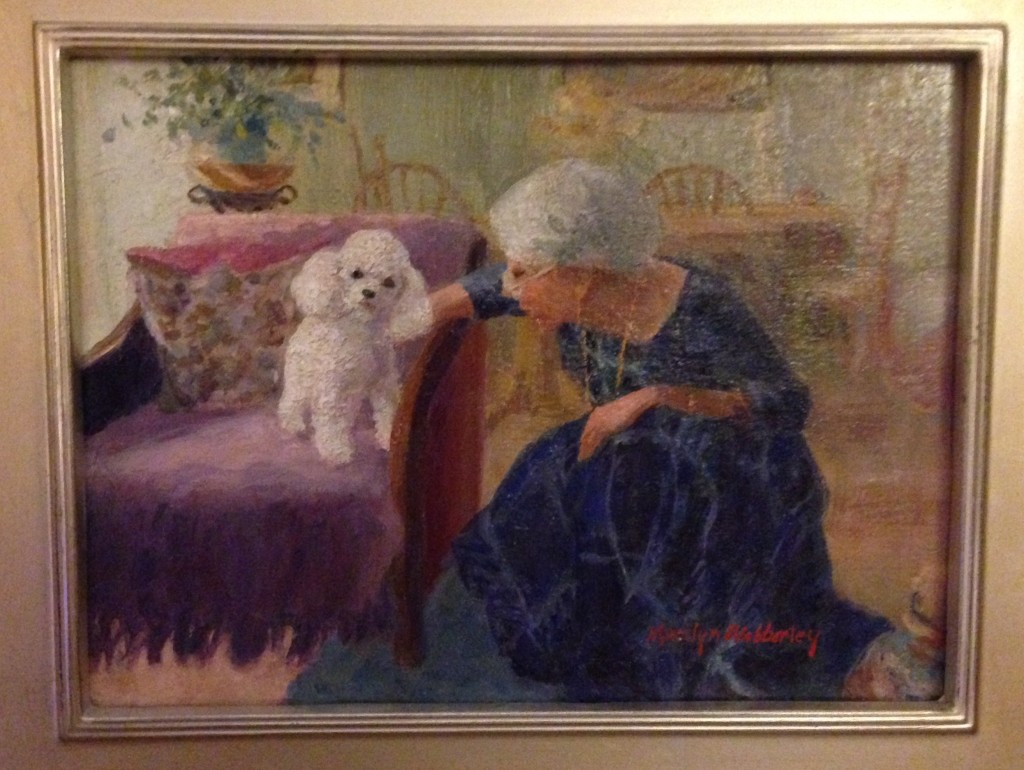 Marilyn Webberley's painting of Chou Chou and me at home